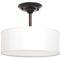 White shade semi flush mount