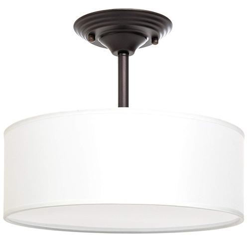 Drum shade semi flush mount
