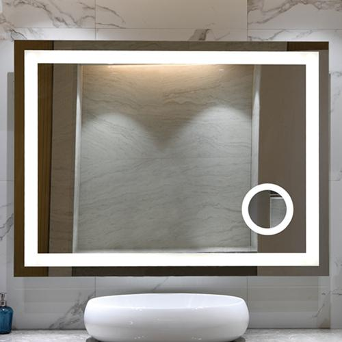 Bathroom mirror with magnifying