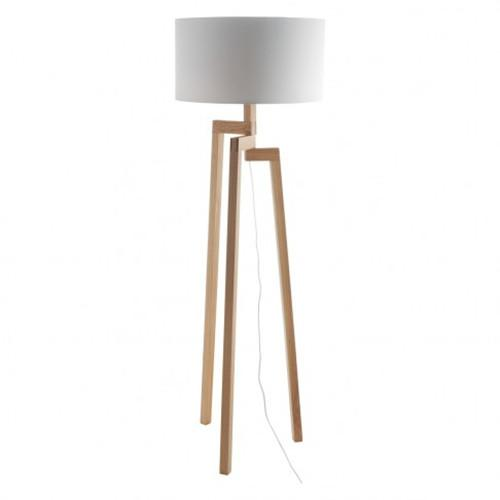 Light wood tripod floor lamp