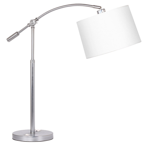 Arc table lamp with outlet
